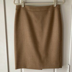 J.Crew No 2 Pencil Skirt Double Serge Wool Camel 6